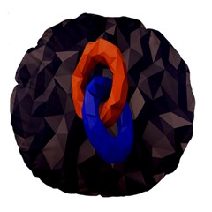 Low Poly Figures Circles Surface Orange Blue Grey Triangle Large 18  Premium Round Cushions by Alisyart