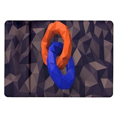 Low Poly Figures Circles Surface Orange Blue Grey Triangle Samsung Galaxy Tab 10.1  P7500 Flip Case by Alisyart