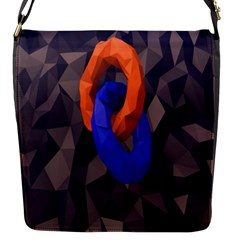 Low Poly Figures Circles Surface Orange Blue Grey Triangle Flap Messenger Bag (s) by Alisyart
