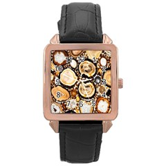 Natural Agate Mosaic Rose Gold Leather Watch  by Alisyart
