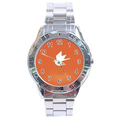 Origami Bird Animals White Orange Stainless Steel Analogue Watch by Alisyart