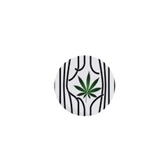 Marijuana Jail Leaf Green Black 1  Mini Magnets