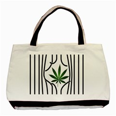Marijuana Jail Leaf Green Black Basic Tote Bag by Alisyart