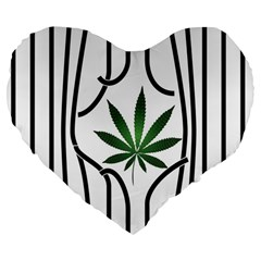 Marijuana Jail Leaf Green Black Large 19  Premium Flano Heart Shape Cushions by Alisyart