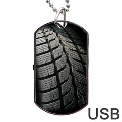 Auto Black Black And White Car Dog Tag Usb Flash (two Sides)