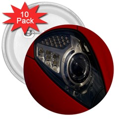 Auto Red Fast Sport 3  Buttons (10 Pack)
