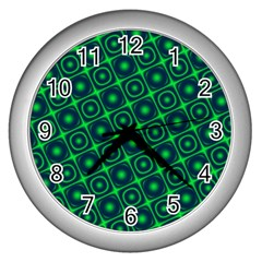 Plaid Green Light Wall Clocks (silver)  by Alisyart