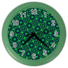 Plaid Green Light Color Wall Clocks by Alisyart