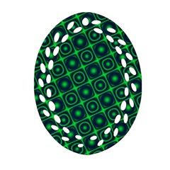 Plaid Green Light Oval Filigree Ornament (two Sides) by Alisyart
