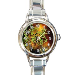 Backdrop Background Tree Abstract Round Italian Charm Watch