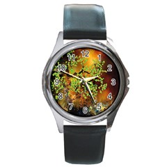 Backdrop Background Tree Abstract Round Metal Watch