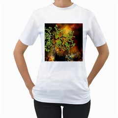Backdrop Background Tree Abstract Women s T-Shirt (White) (Two Sided)