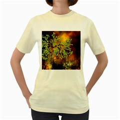 Backdrop Background Tree Abstract Women s Yellow T-Shirt