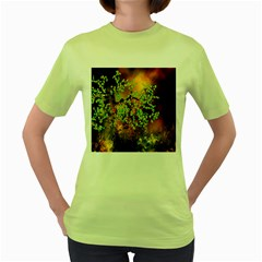 Backdrop Background Tree Abstract Women s Green T-Shirt