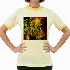 Backdrop Background Tree Abstract Women s Fitted Ringer T-Shirts
