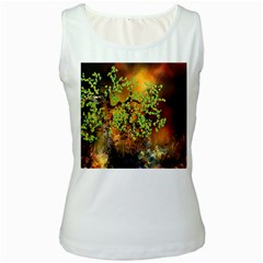 Backdrop Background Tree Abstract Women s White Tank Top