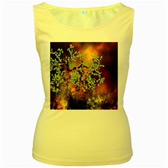 Backdrop Background Tree Abstract Women s Yellow Tank Top