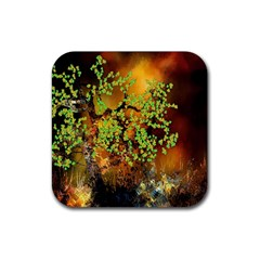 Backdrop Background Tree Abstract Rubber Square Coaster (4 pack)