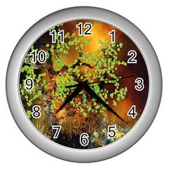 Backdrop Background Tree Abstract Wall Clocks (Silver)