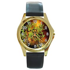 Backdrop Background Tree Abstract Round Gold Metal Watch