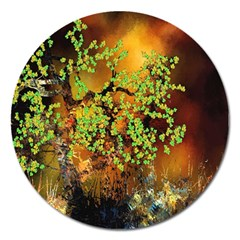 Backdrop Background Tree Abstract Magnet 5  (Round)