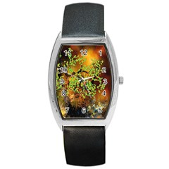 Backdrop Background Tree Abstract Barrel Style Metal Watch