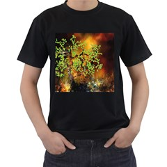 Backdrop Background Tree Abstract Men s T-Shirt (Black) (Two Sided)