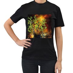 Backdrop Background Tree Abstract Women s T-Shirt (Black) (Two Sided)