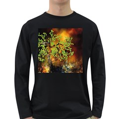 Backdrop Background Tree Abstract Long Sleeve Dark T-Shirts