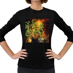 Backdrop Background Tree Abstract Women s Long Sleeve Dark T-Shirts