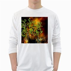 Backdrop Background Tree Abstract White Long Sleeve T-Shirts