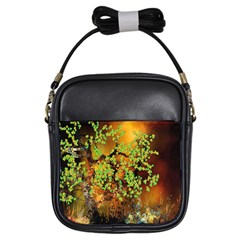 Backdrop Background Tree Abstract Girls Sling Bags