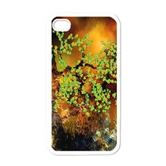 Backdrop Background Tree Abstract Apple iPhone 4 Case (White)