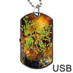 Backdrop Background Tree Abstract Dog Tag Usb Flash (one Side)