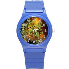Backdrop Background Tree Abstract Round Plastic Sport Watch (S)