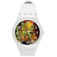 Backdrop Background Tree Abstract Round Plastic Sport Watch (M)