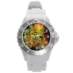 Backdrop Background Tree Abstract Round Plastic Sport Watch (L)