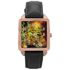 Backdrop Background Tree Abstract Rose Gold Leather Watch
