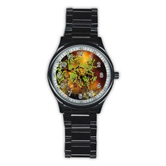 Backdrop Background Tree Abstract Stainless Steel Round Watch