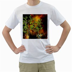 Backdrop Background Tree Abstract Men s T-Shirt (White)