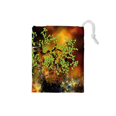 Backdrop Background Tree Abstract Drawstring Pouches (Small)