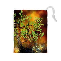 Backdrop Background Tree Abstract Drawstring Pouches (Large)