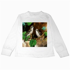 Backdrop Colorful Bird Decoration Kids Long Sleeve T Shirts