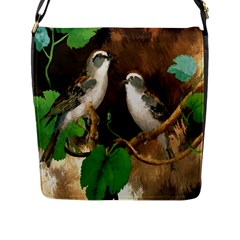 Backdrop Colorful Bird Decoration Flap Messenger Bag (l)  by Nexatart