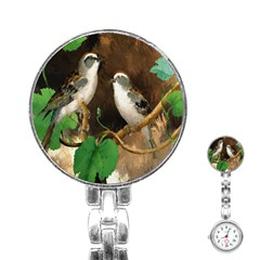 Backdrop Colorful Bird Decoration Stainless Steel Nurses Watch