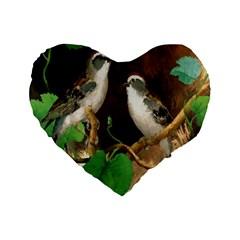 Backdrop Colorful Bird Decoration Standard 16  Premium Flano Heart Shape Cushions