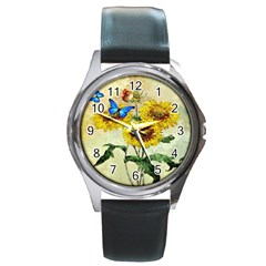 Backdrop Colorful Butterfly Round Metal Watch