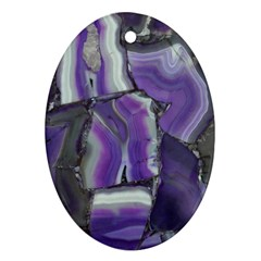 Purple Agate Natural Oval Ornament (two Sides)