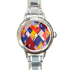 Background Fabric Multicolored Patterns Round Italian Charm Watch by Nexatart