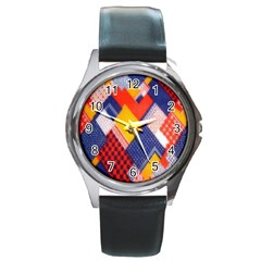 Background Fabric Multicolored Patterns Round Metal Watch